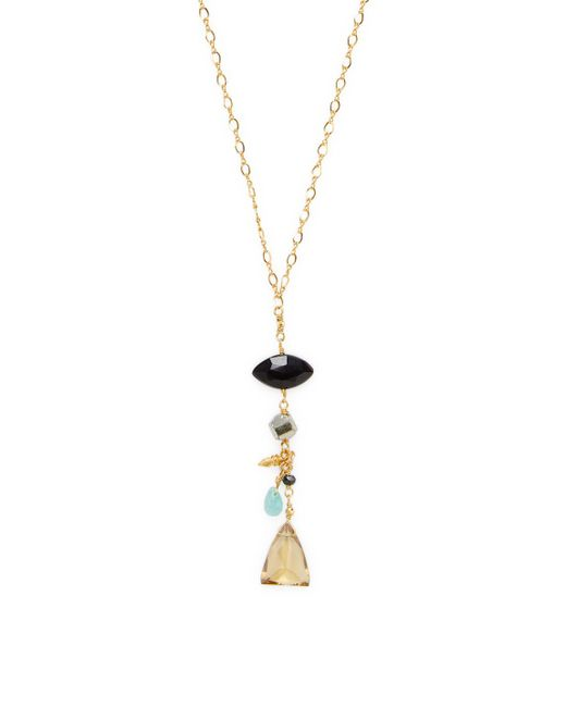 Chan Luu - Black 18k Gold Plated Sterling Silver Semi Precious Stones Station Necklace - Lyst