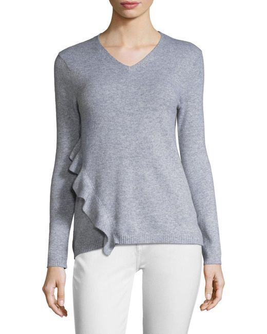In Cashmere - Gray Knit V-neck Sweater - Lyst