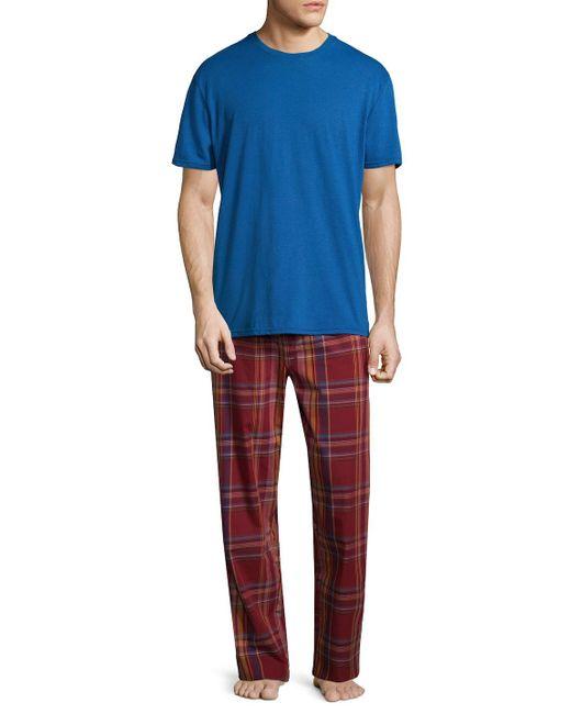 Original Penguin - Blue Plaid Tonal Cotton Pajama Set for Men - Lyst