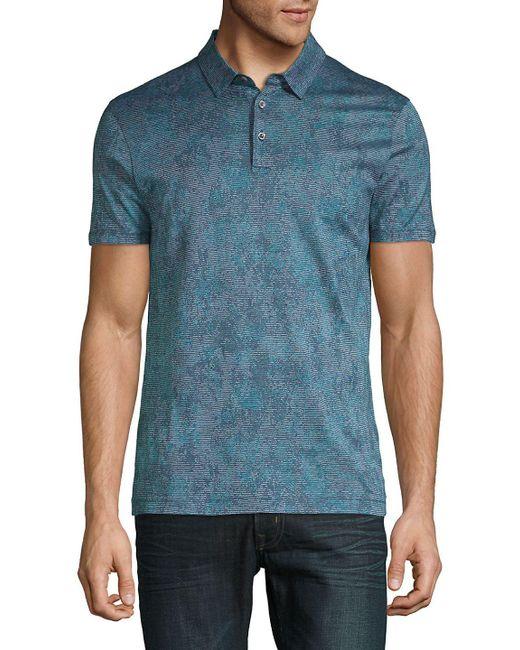 BOSS - Blue Preston Printed Cotton Polo for Men - Lyst