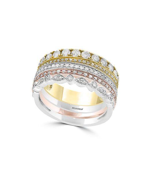 Effy - Metallic 14k Tri-tone Gold & Diamond Stacked Ring - Lyst