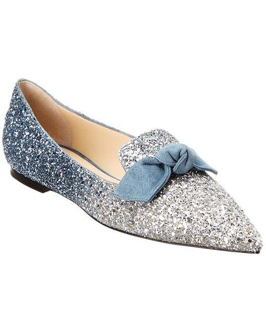 fbcfe1d2efc Jimmy Choo Gabie Glitter Ballet Flats in Blue - Save 19% - Lyst