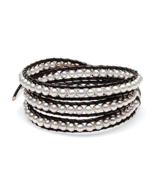 Chan Luu - Metallic Silver & Leather 4mm Pearl Wrap Bracelet - Lyst