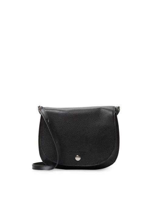 Longchamp - Black Pebble Leather Saddle Bag - Lyst