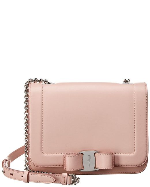 Lyst - Ferragamo Vara Small Leather Shoulder Bag in Pink - Save 30% 98158a96d58d7