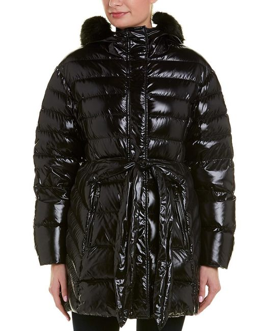 Moncler - Black Belted Puffer Coat - Lyst