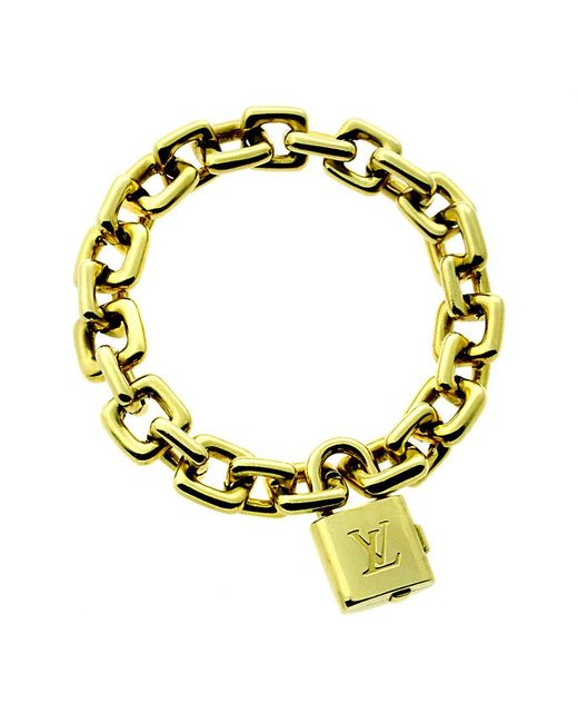 Louis Vuitton Metallic Louis Vuitton 18k Padlock Charm Bracelet