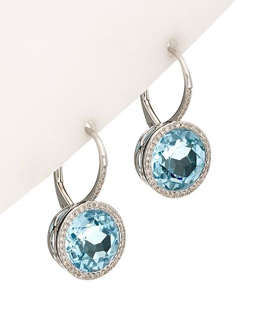 Diana M - Blue 14k 9.19 Ct. Tw. Diamond & Topaz Earrings - Lyst