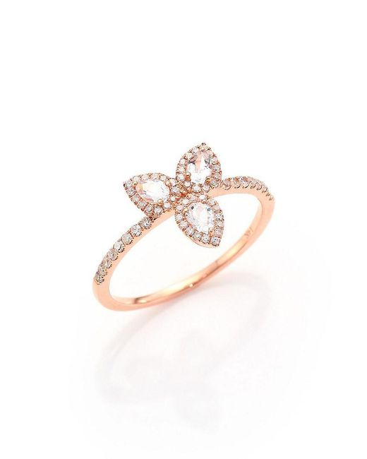 Meira T - Multicolor 14k Rose Gold .23 Ct. Tw. Diamond & White Topaz Ring - Lyst