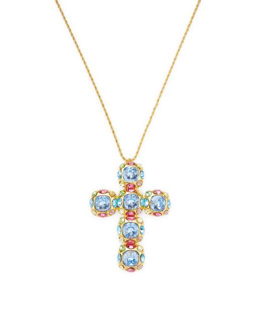 Kenneth Jay Lane - Metallic Multi-stone Cross Pendant Necklace - Lyst