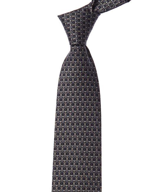Ferragamo Black Gancini Silk Tie for men
