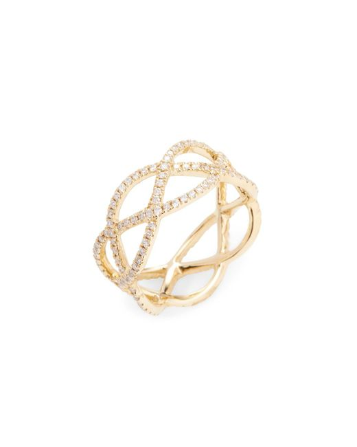 Nephora | Metallic 14k Yellow Gold & Diamond Criss Cross Ring | Lyst