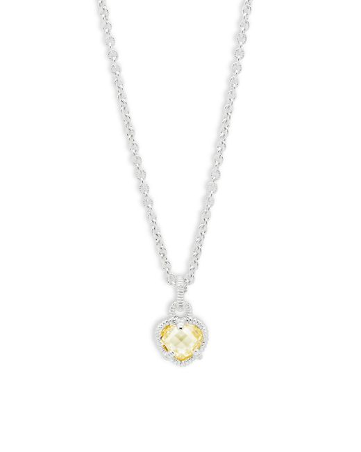 Judith Ripka - Metallic Canary Crystal Heart Pendant Necklace - Lyst
