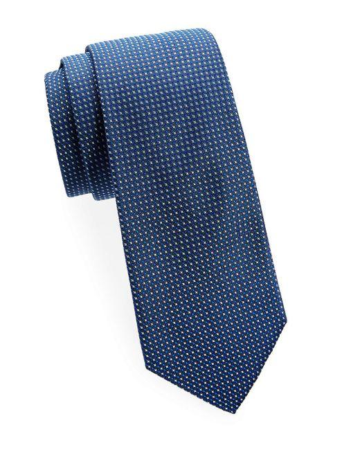 Saks Fifth Avenue - Blue Two-tone Silk Tie for Men - Lyst