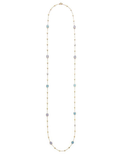 Marco Bicego - Metallic 18k Yellow Gold Long Necklace With 2 Stones & Diamond - Lyst