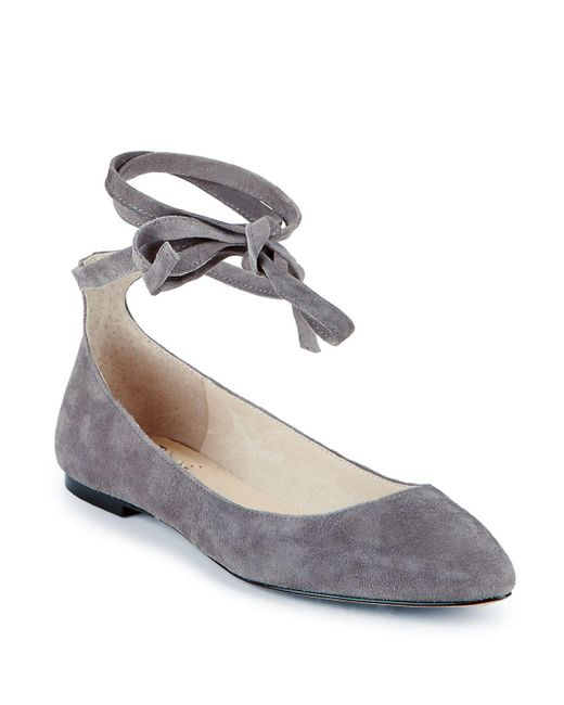 Vince Camuto - Gray Ankle Tie Leather Flats - Lyst