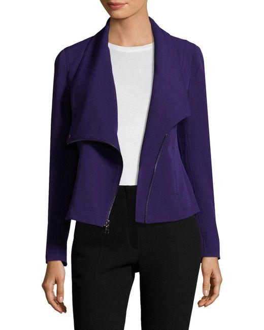 Anne Klein - Purple Asymmetrical Zip Jacket - Lyst