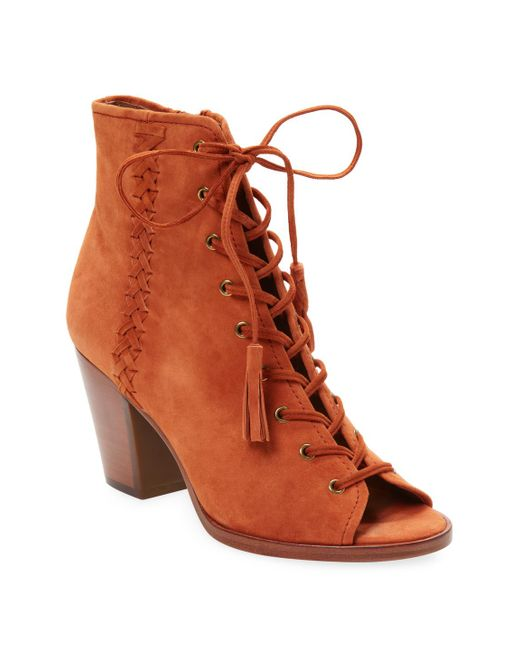 Frye - Brown Dani Whipstitch Lace Leather Bootie - Lyst