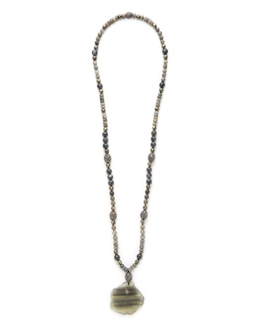 Hipchik Couture - Metallic Pyrite & Agate Slice Pendant Necklace - Lyst