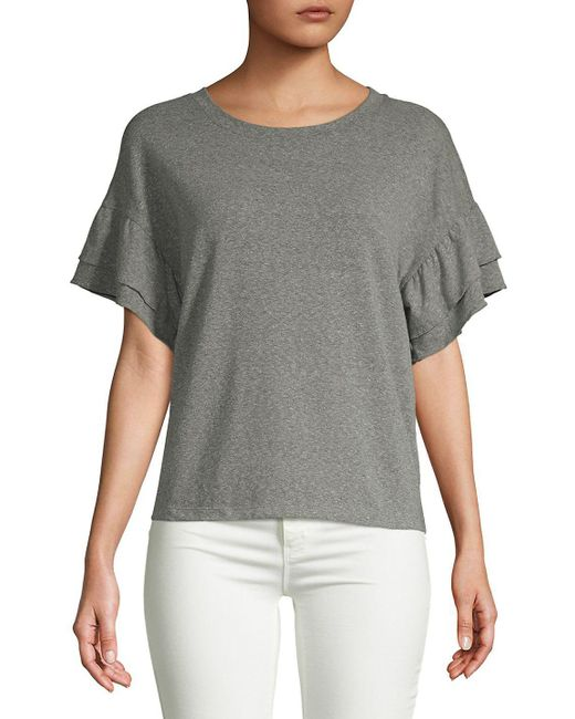 Saks Fifth Avenue - Gray Ruffle Short-sleeve Top - Lyst