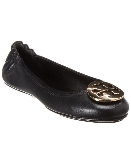 Tory Burch Black Minnie Travel Leather Ballet Flat