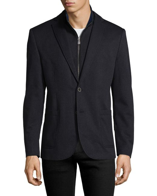 Hart Schaffner Marx - Blue Broderick Technical Outerwear Jacket With Detachable Knit Bib for Men - Lyst