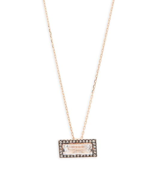 Suzanne Kalan - Metallic White Topaz, Diamond And 14k Rose Gold Pendant Necklace - Lyst
