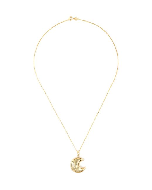 Estate Fine Jewelry - Metallic Estate 18k Yellow Gold Moon Face Pendant Necklace - Lyst