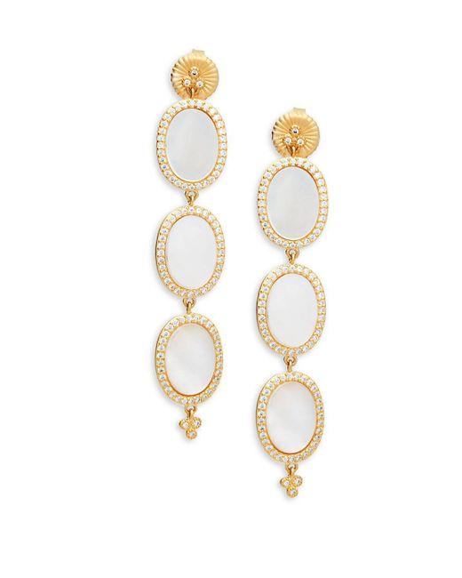 Freida Rothman - White Triple Oval Mother-of-pearl, Crystal & Sterling Silver Drop Earrings - Lyst