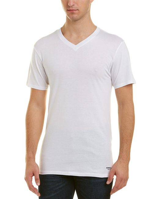 Kenneth Cole - White New York 3 Pack Slim V-neck T-shirt for Men - Lyst
