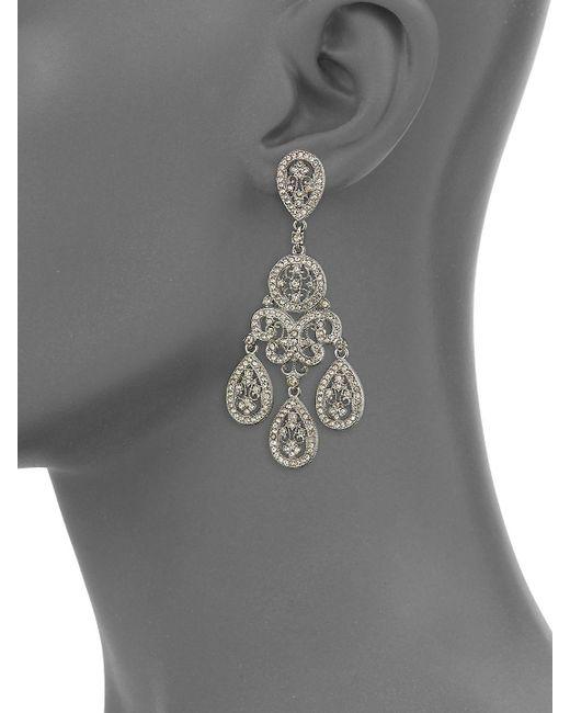 Adriana Orsini Metallic Crystal Large Teardrop Chandelier Earrings Lyst