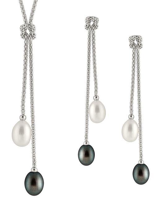 Splendid Metallic Rhodium Plated Silver 7-8mm Freshwater Pearl Necklace & Earrings Set