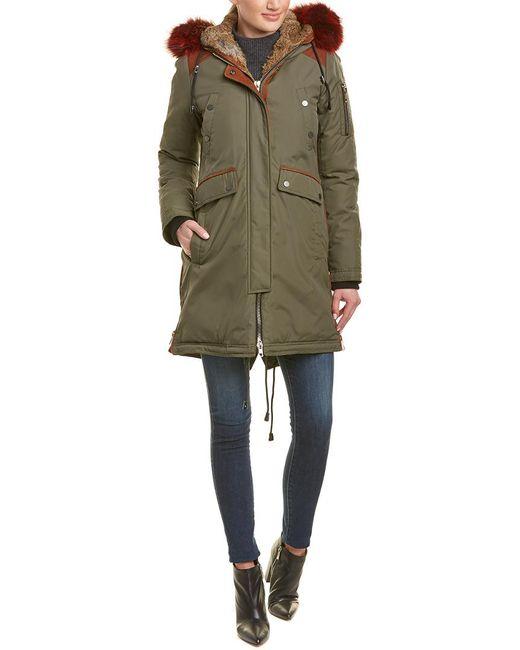 Nicole Benisti Green Brera Leather-trim Down Coat