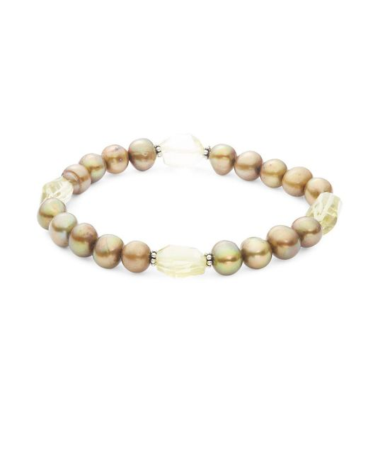 Stephen Dweck - Metallic Dyed Green Pearl, Lemon Quartz And Sterling Silver Slip-on Bracelet - Lyst