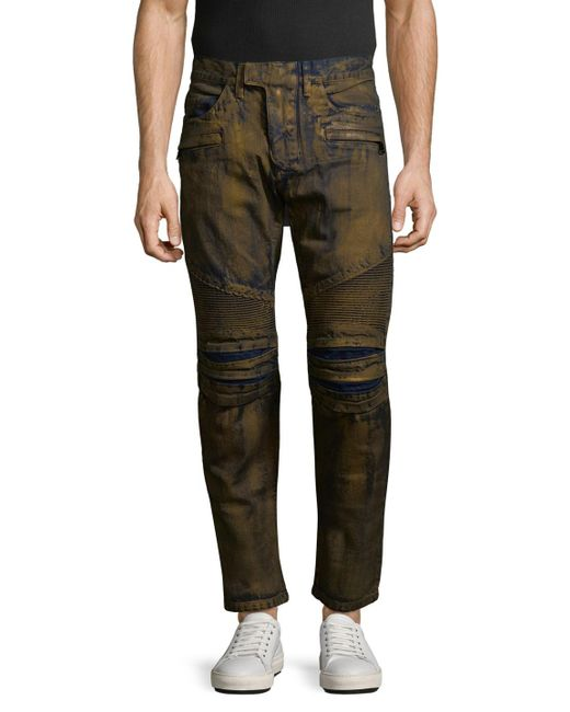 Balmain | Metallic Mens Biker Jeans for Men | Lyst