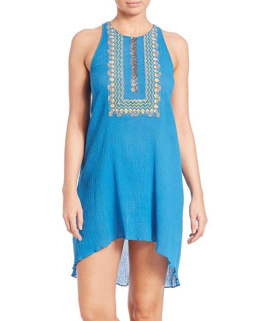 Shoshanna - Blue Embellished Cotton Bohemian Tank Dress - Lyst