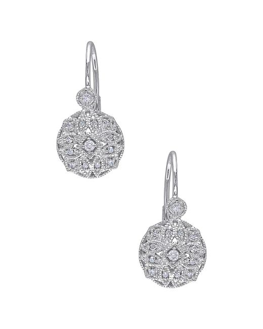 Rina Limor - Metallic 14k White Gold & 0.14 Total Ct. Diamond Drop Earrings - Lyst