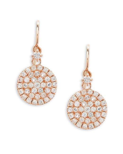 Suzanne Kalan - Metallic 14k Rose Gold & White Sapphire Circle Earrings - Lyst