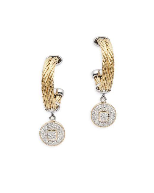 Alor - Metallic Diamond, 18k Gold & Stainless Steel Circle Dangle & Drop Earrings - Lyst