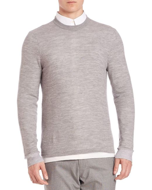 Vince - Gray Double Layer Crewneck Sweater for Men - Lyst
