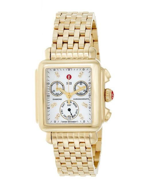Michele - Metallic Signature Deco Diamond Watch - Lyst