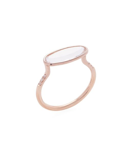 Meira T - Metallic 14k Rose Gold, White Topaz & 0.04 Total Ct. Diamond Oval Ring - Lyst