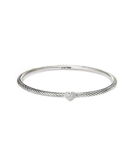 David Yurman - Metallic David Yurman Cable Silver 0.11 Ct. Tw. Diamond Bangle - Lyst