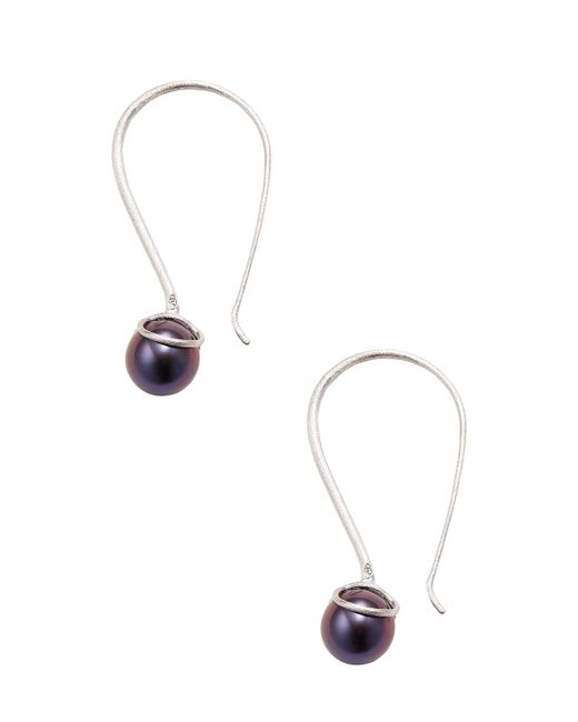"""Masako Pearls - 14k White Gold Brushed Finished Pearl Earrings Set, Black Freshwater Pearls **measurements:** 1.6"""" Long, .4"""" At Widest Point - Lyst"""