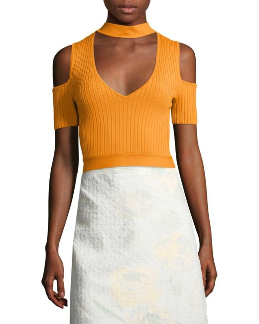 BCBGMAXAZRIA - Orange Ribbed Choker Crop Top - Lyst