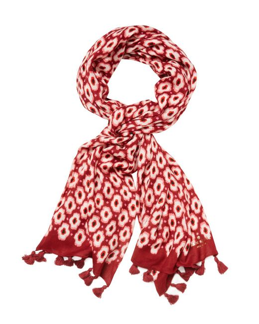 """Kate Spade - Red Posy Ikat Long Scarf, 82"""" X 31"""" - Lyst"""