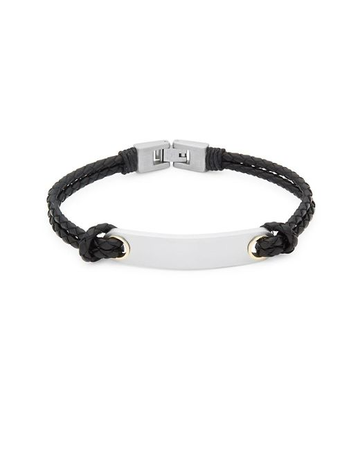 Saks Fifth Avenue - Black Stainless Steel And Leather Bracelet for Men - Lyst