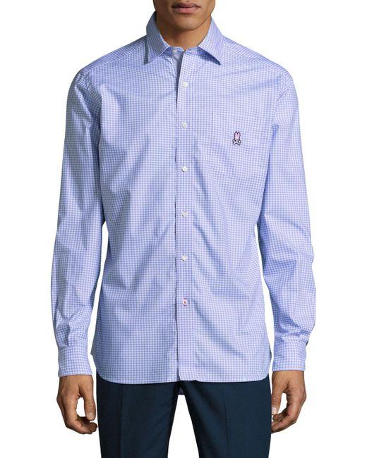 Psycho Bunny | Blue Printed Cotton Sportshirt for Men | Lyst