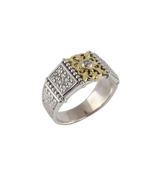 Konstantino - Metallic Asteri Pavé White Diamond, 18k Yellow Gold And Sterling Silver Ring - Lyst