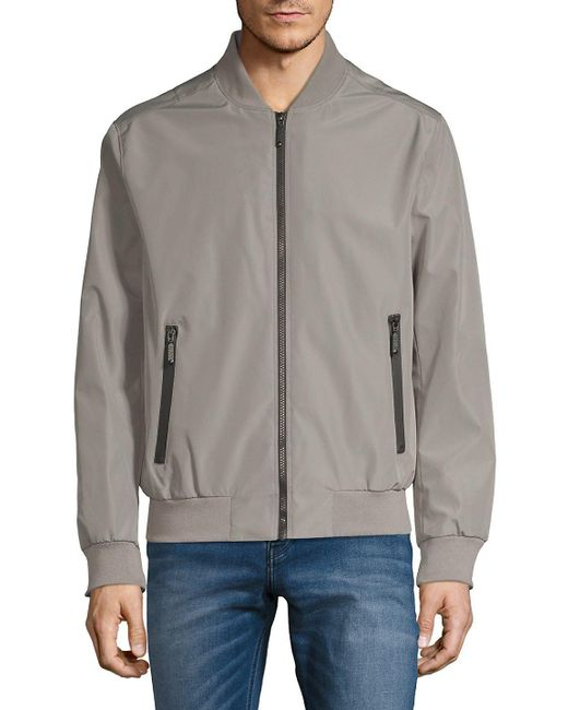 Andrew Marc - Gray Rib-trimmed Bomber Jacket for Men - Lyst